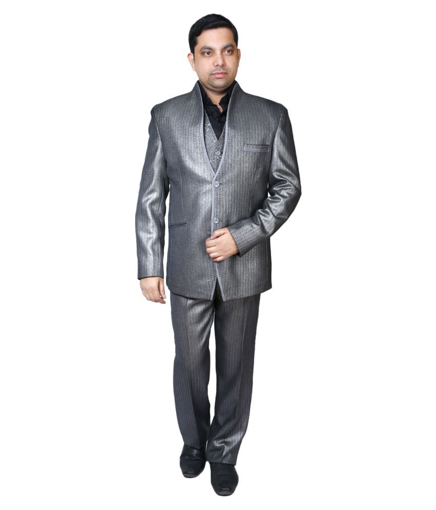 Bindals Grey Plain Party Suit