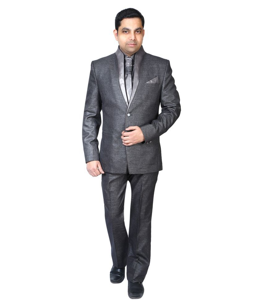 Bindals Grey Self Design Party Suit