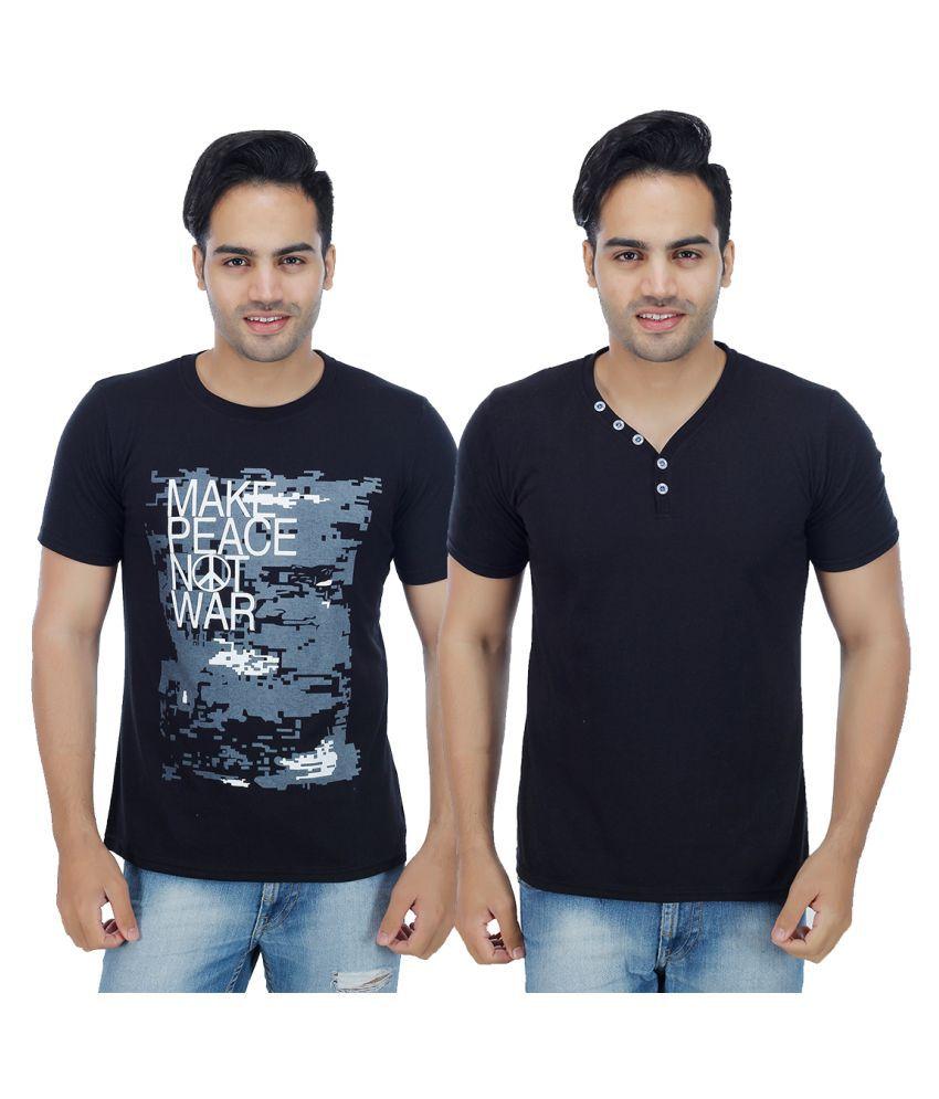 Rakshita's Collection Black Round T-Shirt Pack of 2