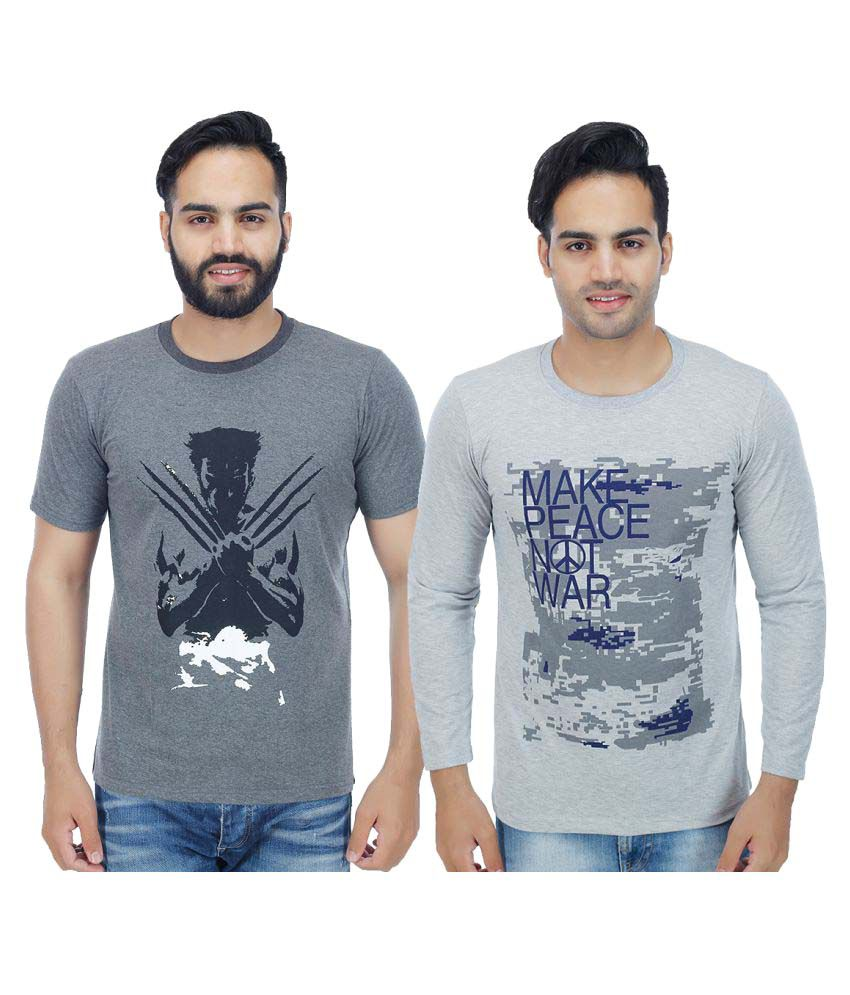 Rakshita's Collection Grey Round T-Shirt Pack of 2