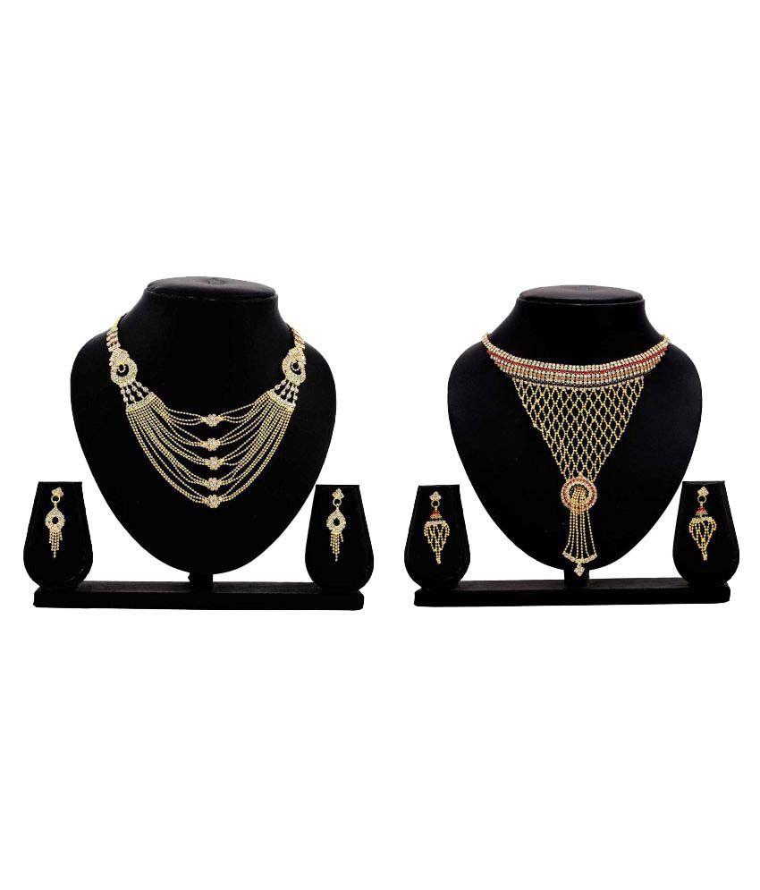 Gopalvilla Present Golden Alloy Necklace Set Combo