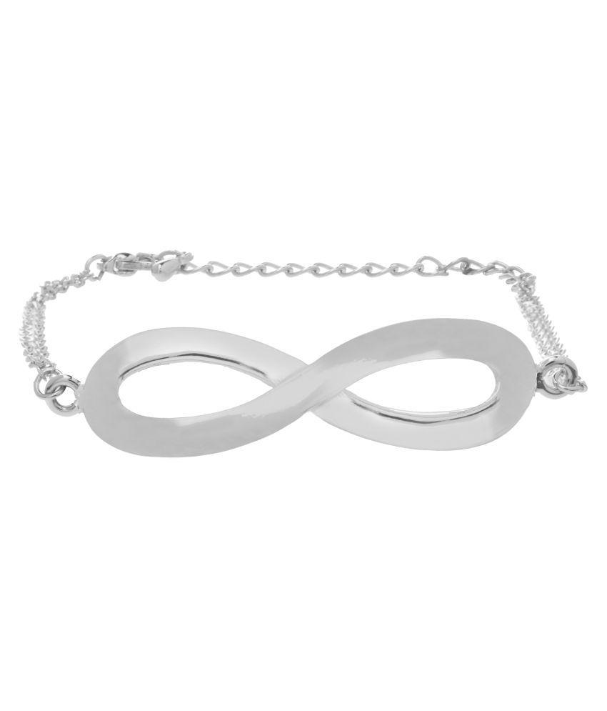 Shining Jewel Silver Brass Bracelet