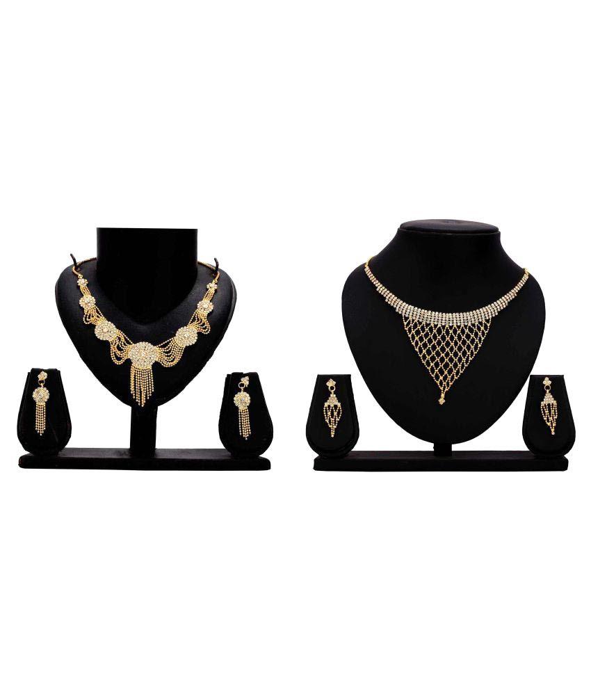 Gopalvilla Fashion Golden Alloy Necklace Set Combo
