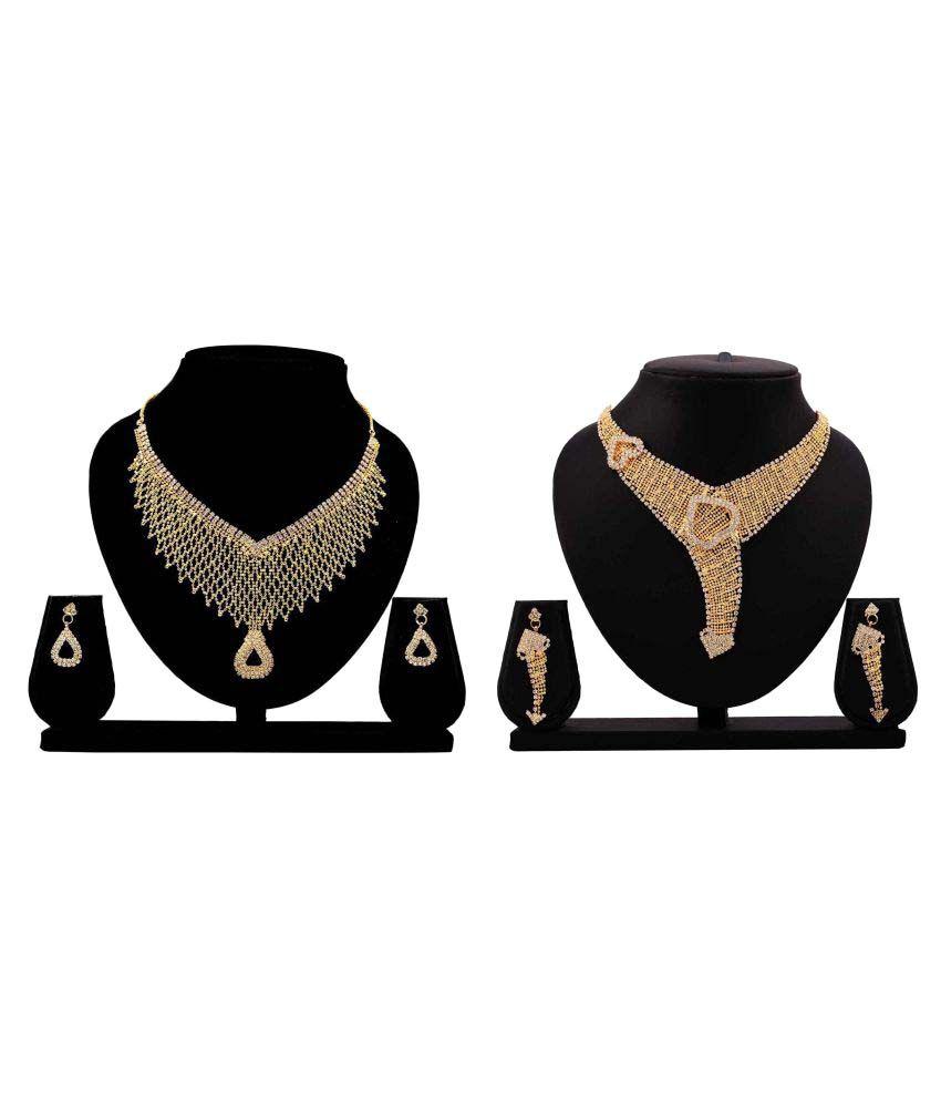 Gopalvilla Golden Alloy Necklace Set Combo