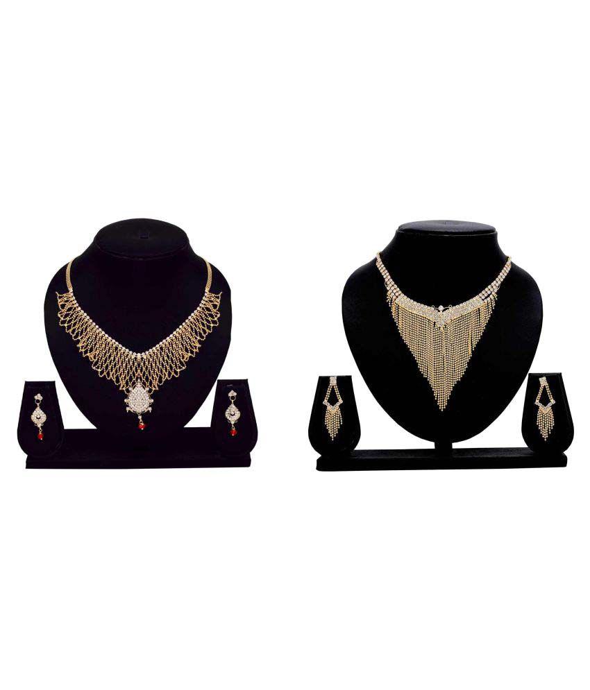 Gopalvilla Golden Alloy Necklace Set Combo For Women
