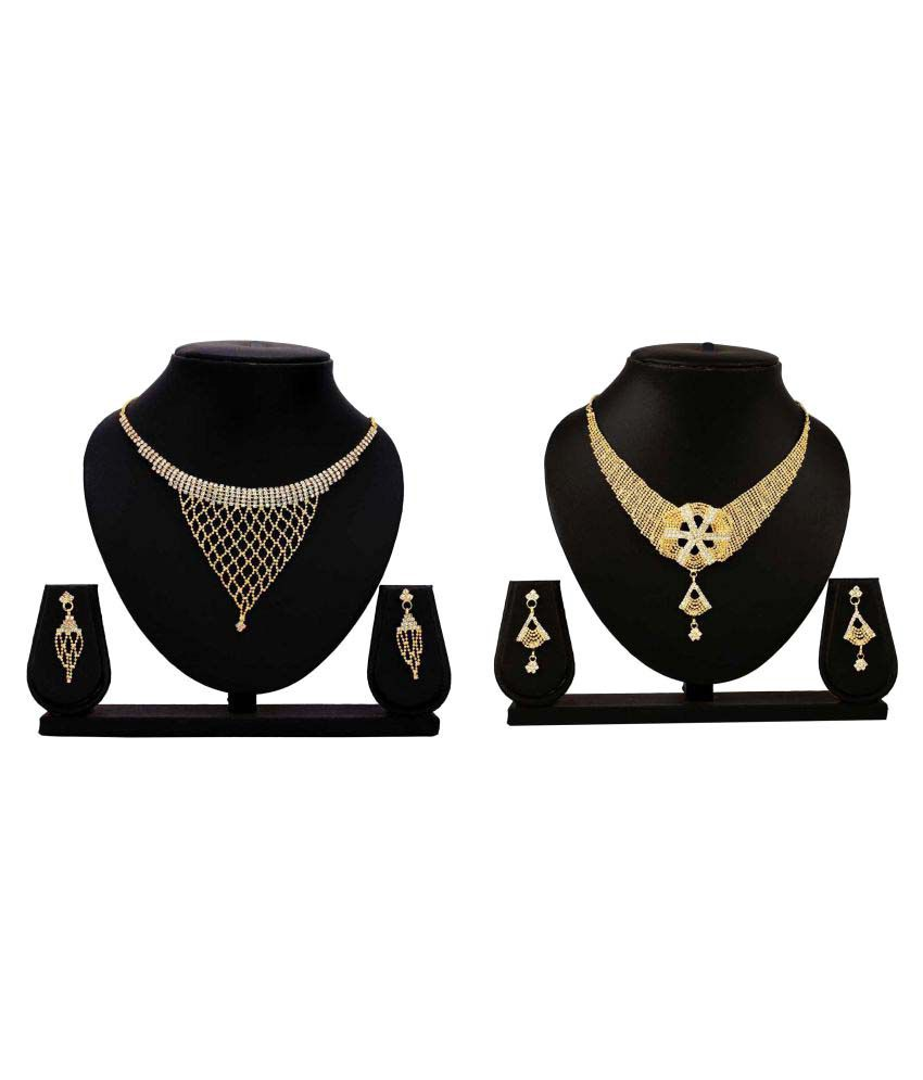 Gopalvilla Golden Alloy Necklace Set Combo