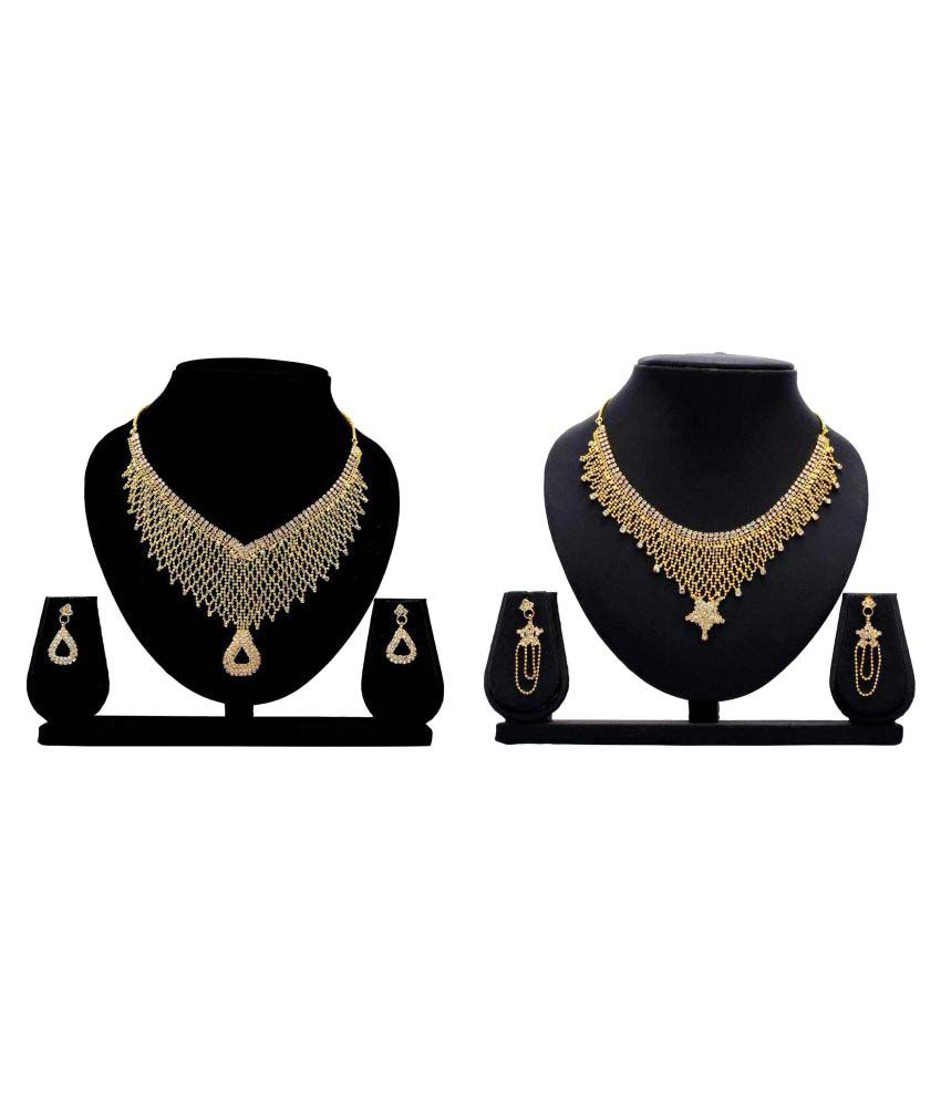 Gopalvilla Presents Golden Alloy Combo Necklace Set