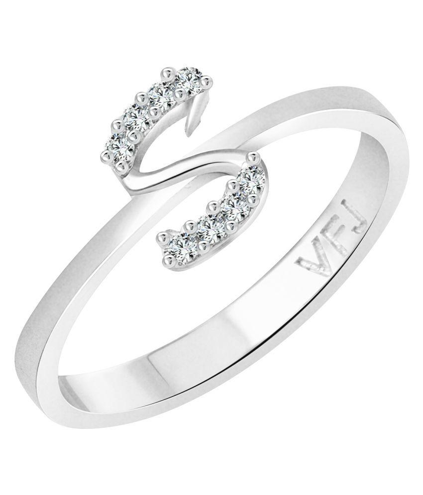 Vighnaharta Initial ''S'' Alphabet (CZ) Rhodium Plated Alloy Ring For Women