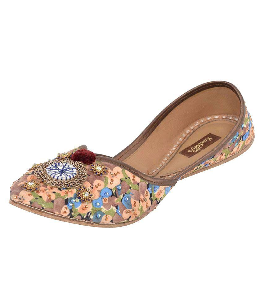 Kamsun Multi Color Flat Ethnic Footwear