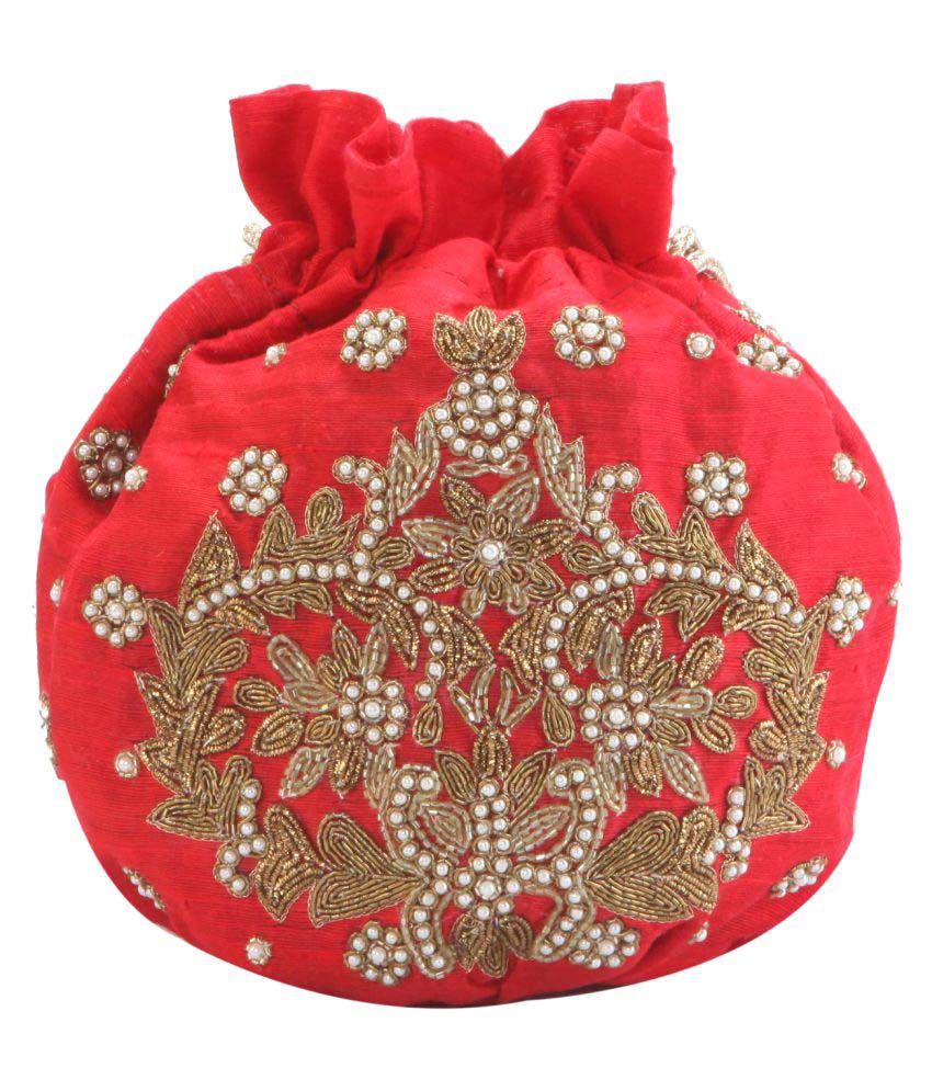 Tarusa Red Silk Potli