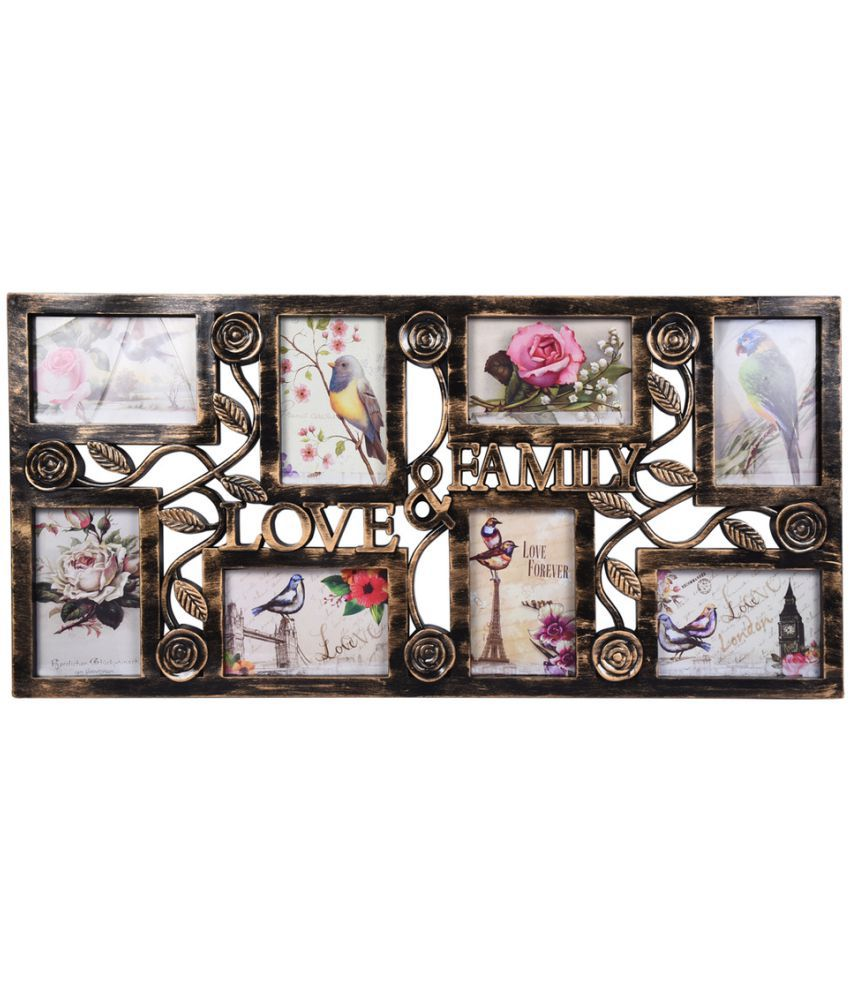 Archies Collage Frames Plastic Wall Hanging Gold Collage Photo Frame - Pack of 1