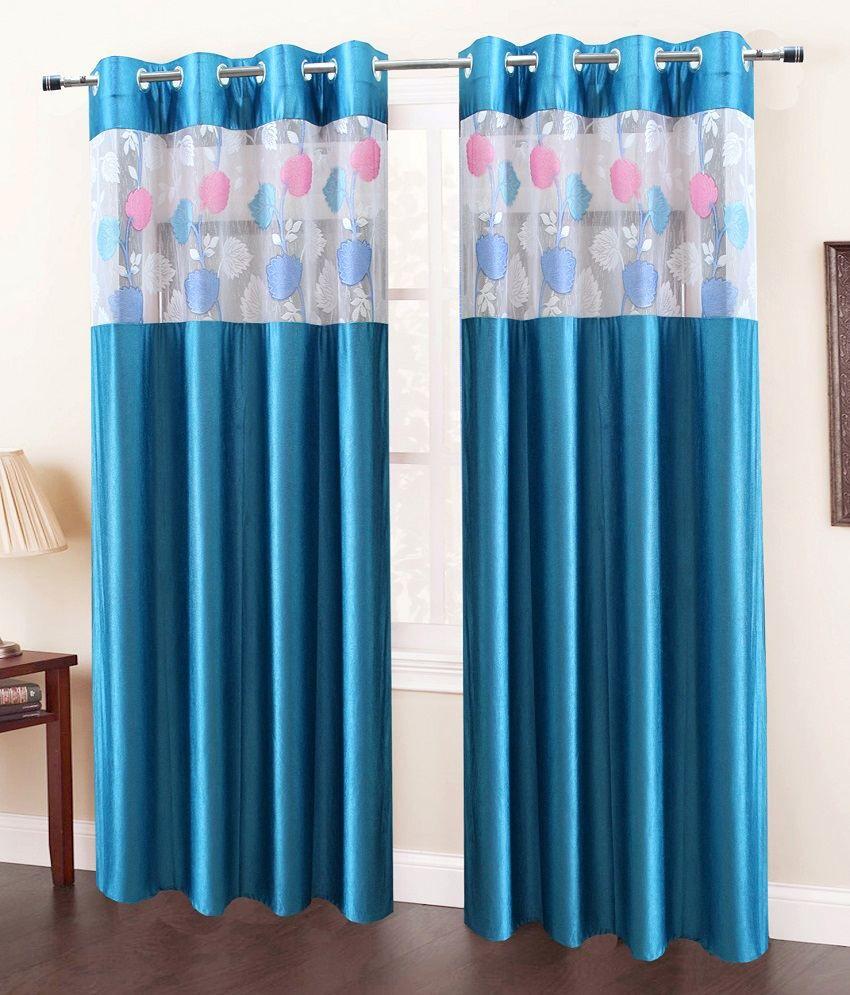 Homefab India Set of 2 Door Eyelet Curtains Solid Blue