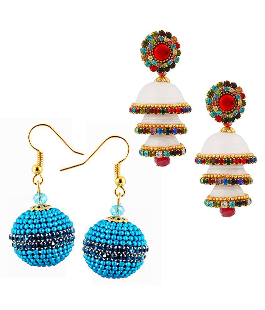 Halowishes Combo of Two Paper Quilling Multicolour Earrings