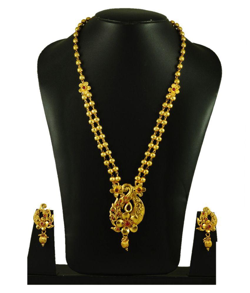 Maalyaa Antique Flower Design Necklace Set