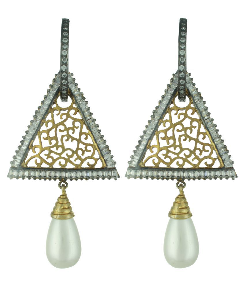 Babosa Sakhi Oxidised Triangle Shaped Drop Earrings
