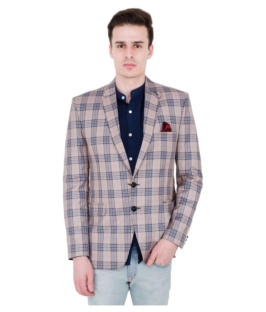 Lorenzini Designs Beige Checks Party Blazers Pack of 2