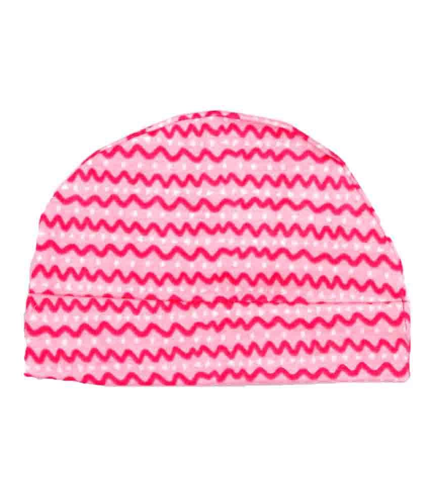 Pikaboo Pink Cotton Zigzag Print Baby Cap