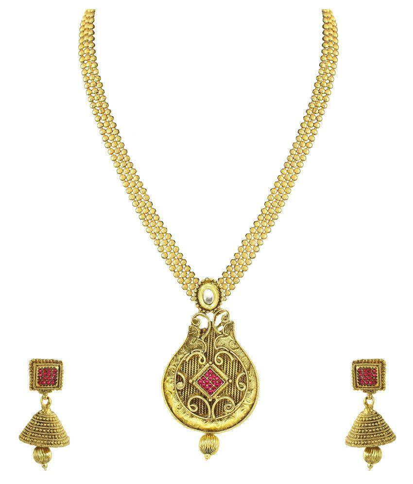 Zaveri Pearls Traditional Long Haram Necklace Set