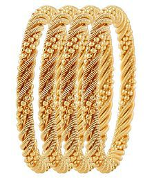 Jewels Galaxy Gold Plated Bangles for Women - Set of 4