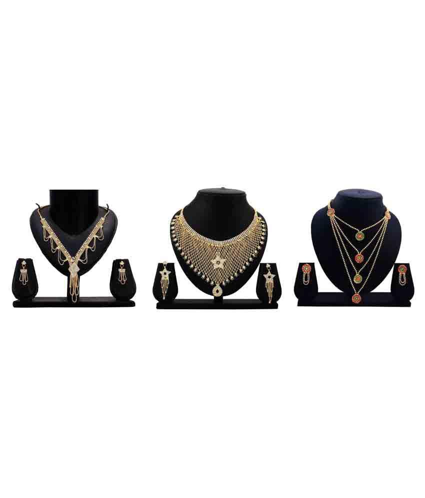 Bahucharaji Creation Presents Golden Alloy Set of 3 Necklace Set Combo