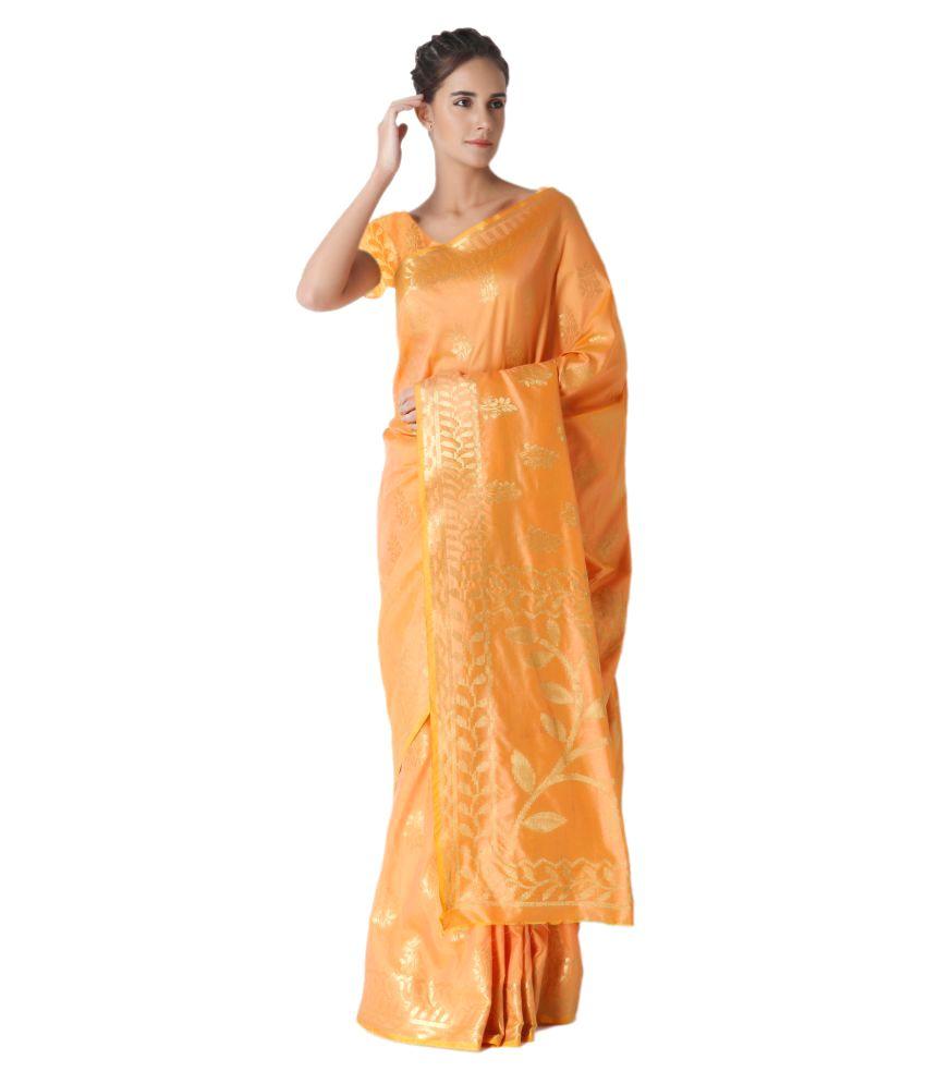 97Colours Orange Jacquard Saree