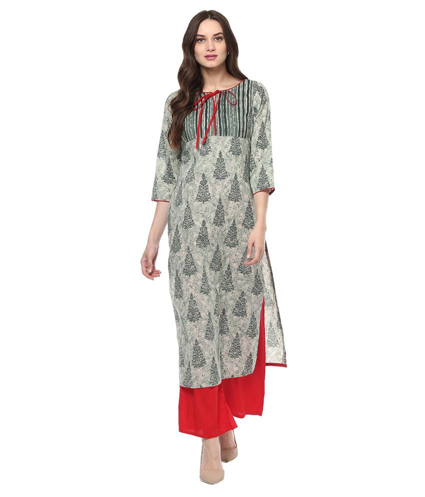 Jaipur Kurti Multicoloured Cotton Straight Stitched Suit