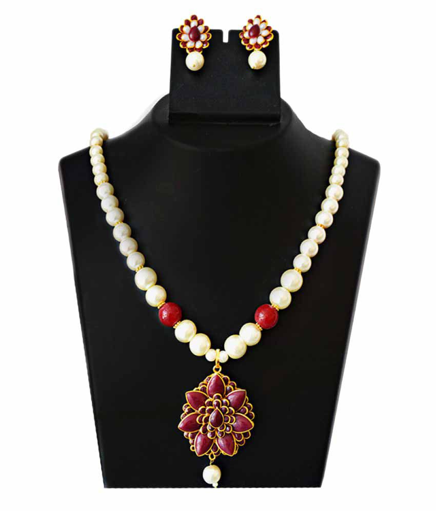 MK Jewellers Multicolour Paachi Pearl Necklace Set