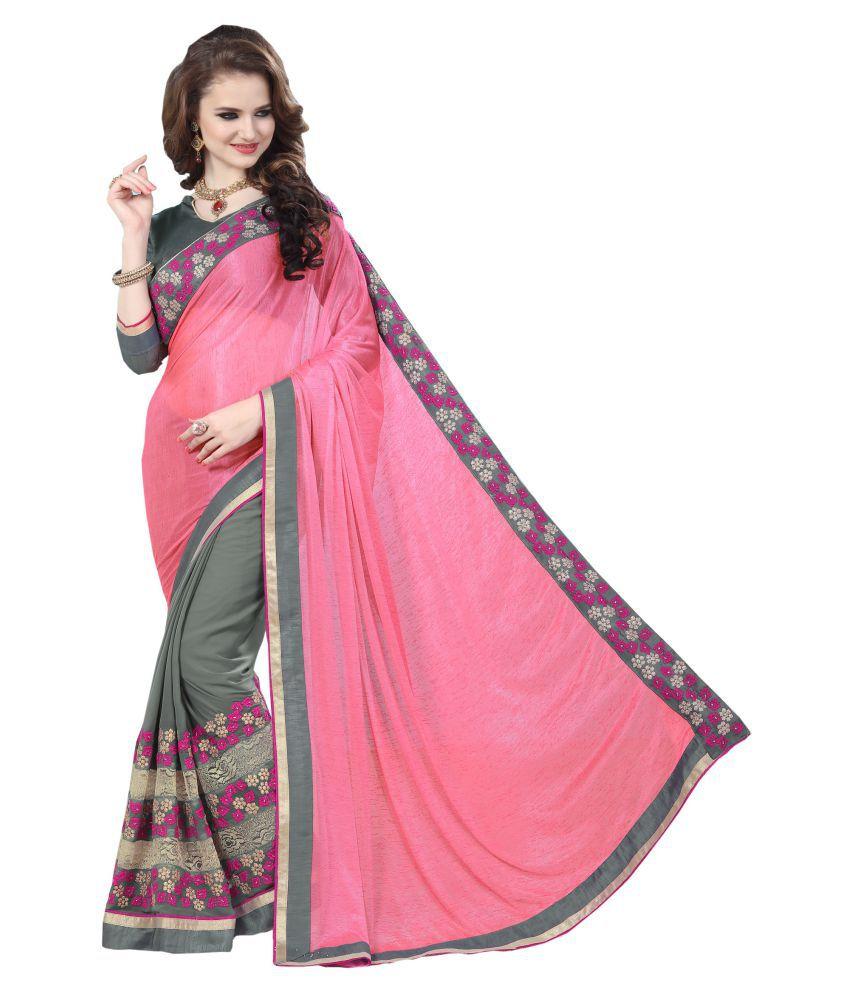 Panash Trends Pink and Grey Lycra Saree