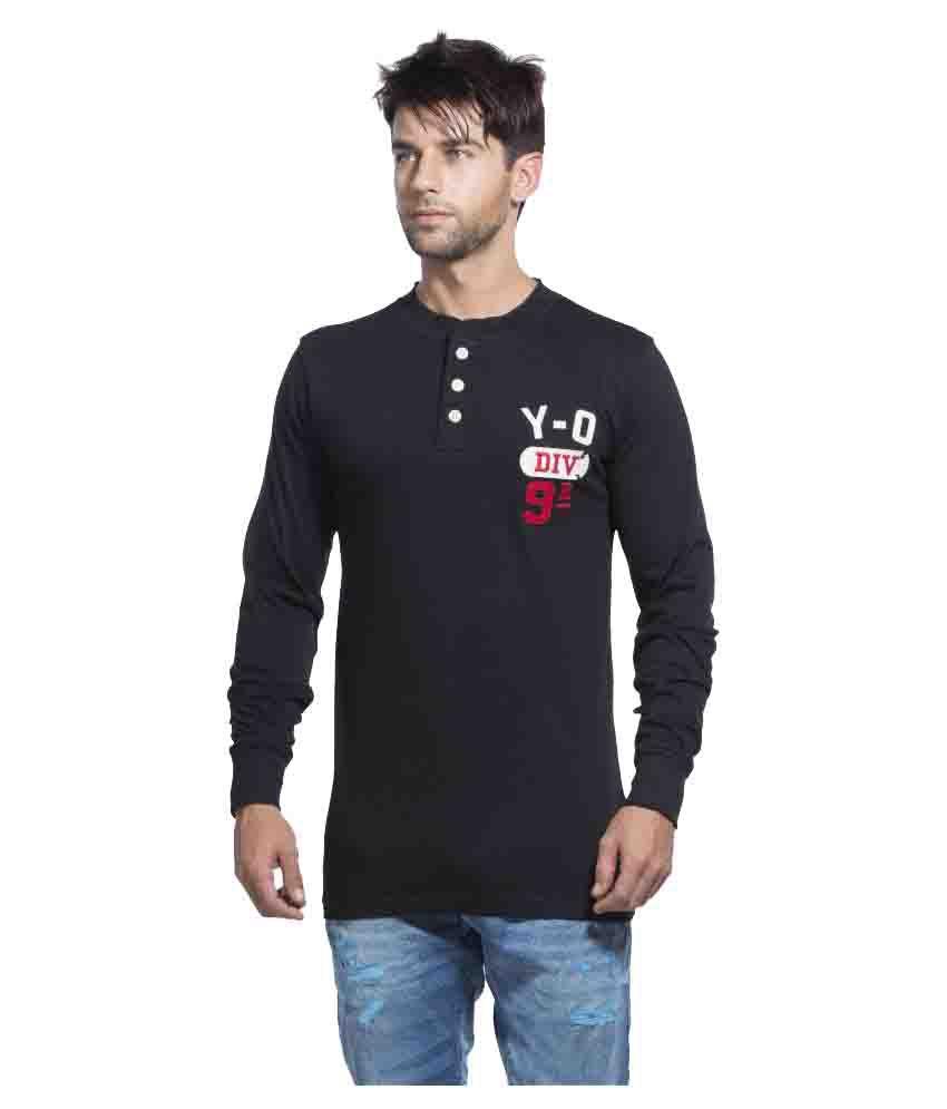 Yo Republic Black Henley T-Shirt Pack of 1
