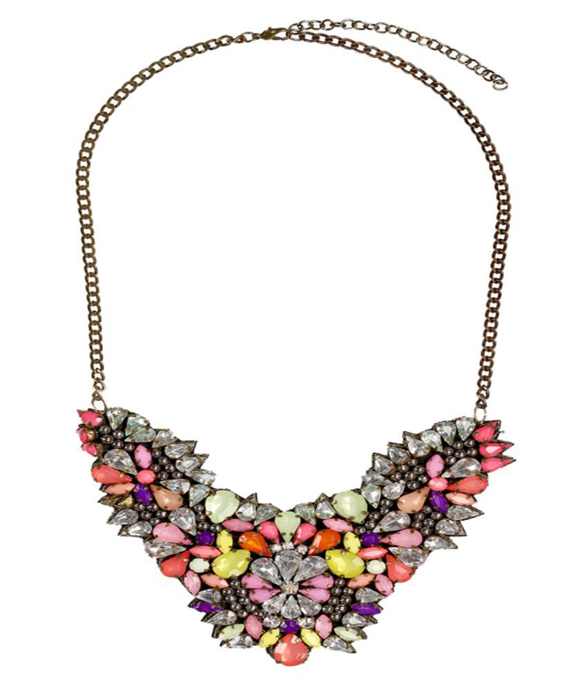 Rizir Fashion Multicolour Dramatic Floral Alloy And Stones Necklace