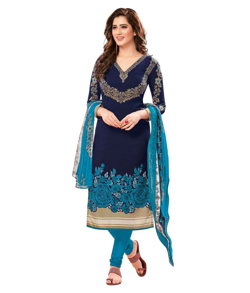 8b674920b7 Women Shoppee Blue and Black Synthetic Dress Material - Buy Women Shoppee  Blue and Black Synthetic Dress Material Online at Best Prices in India on  Snapdeal
