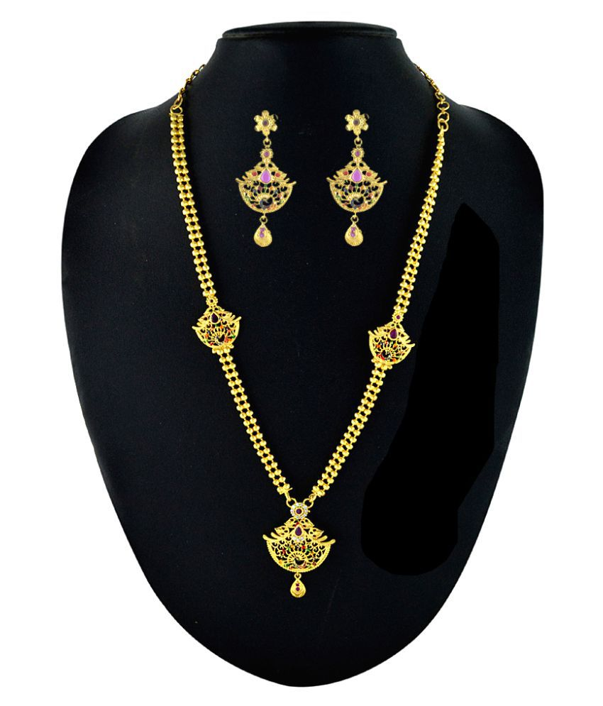 Kalyani Covering Golden Brass Necklace Set