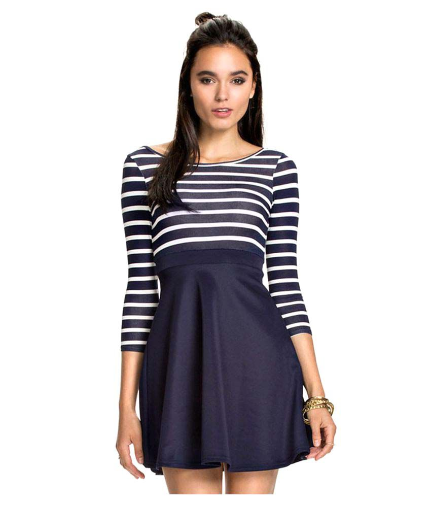 psychovest Polyester Blue Skater Dress
