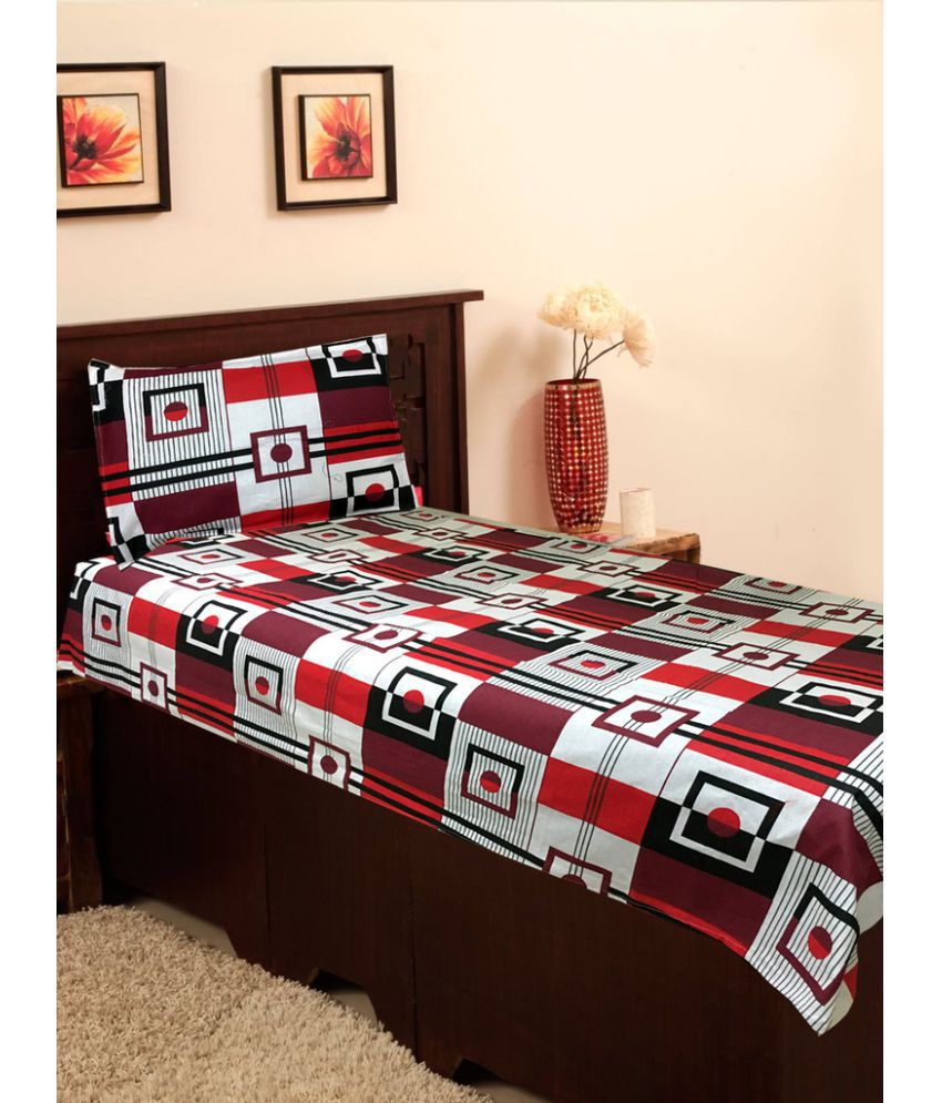 Homefab India Single Cotton Multicolor Printed Bed Sheet Set of 2