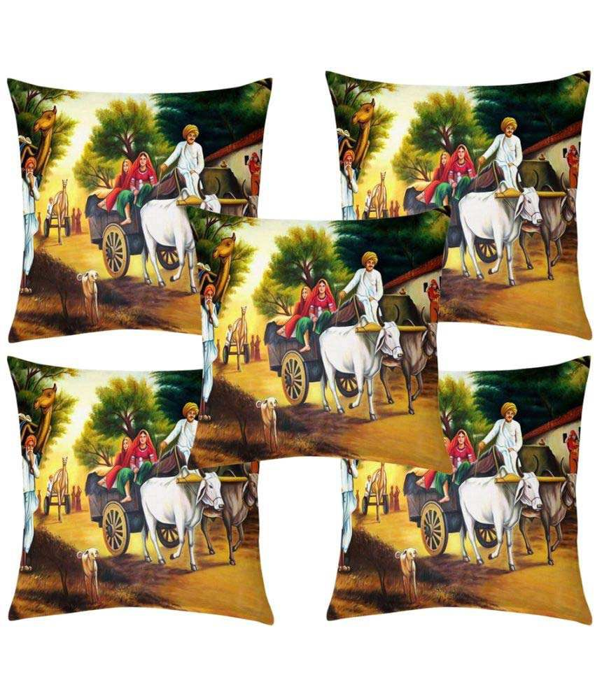 Innovative Edge Set of 5 Velvet Cushion Covers 40X40 cm (16X16)
