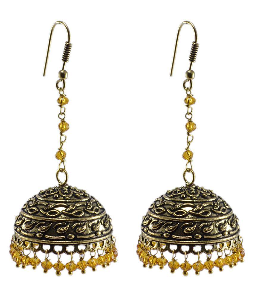 Silvesto India Yellow Jhumki Earrings Single Pair
