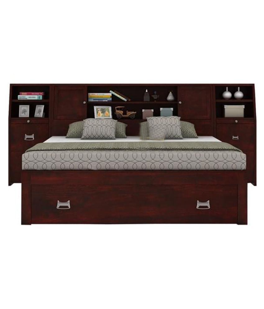 aprodz trapez king size bed with storage with 2 bed side table