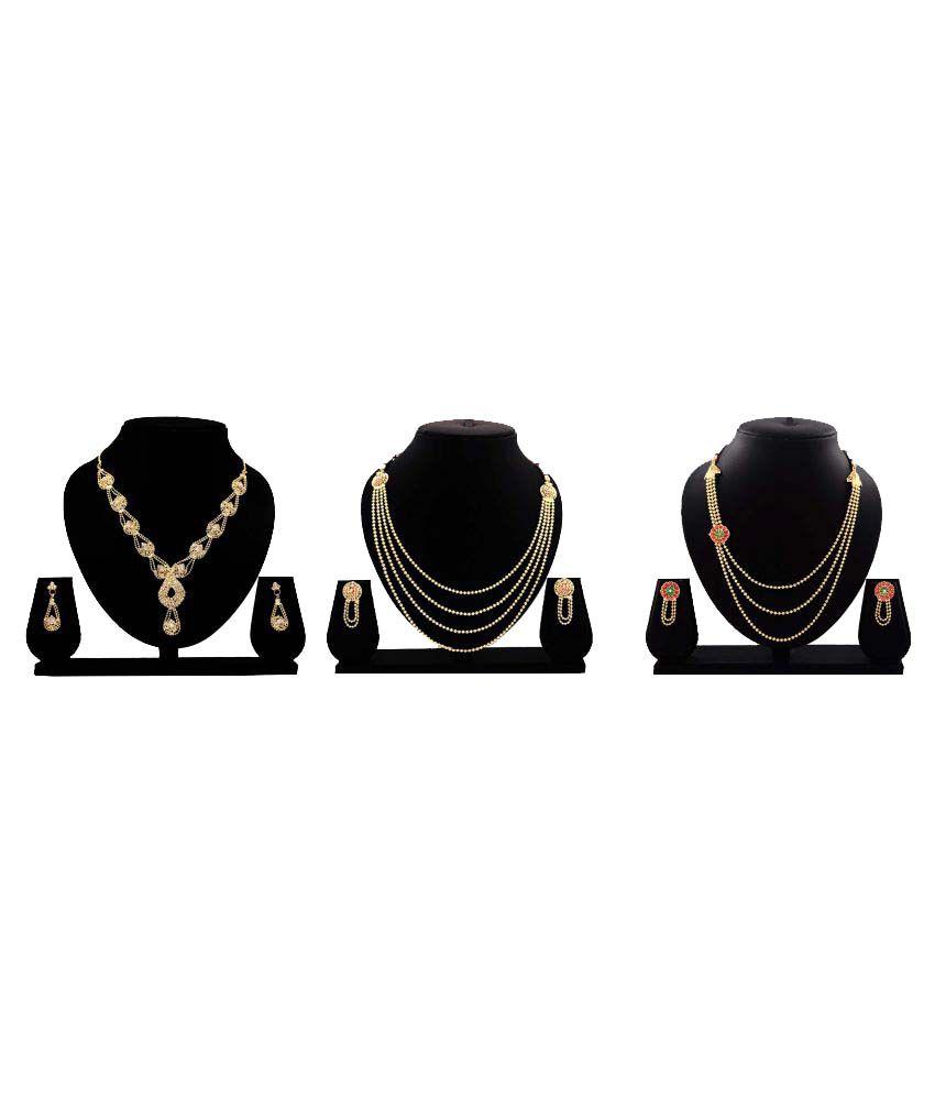 Bahucharaji Creation Golden Necklace Set Combo