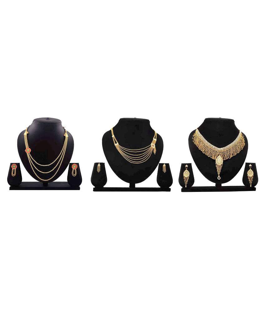 Bahucharaji Creation Presents Golden Color Alloy Set of 3 Piece Necklace Set