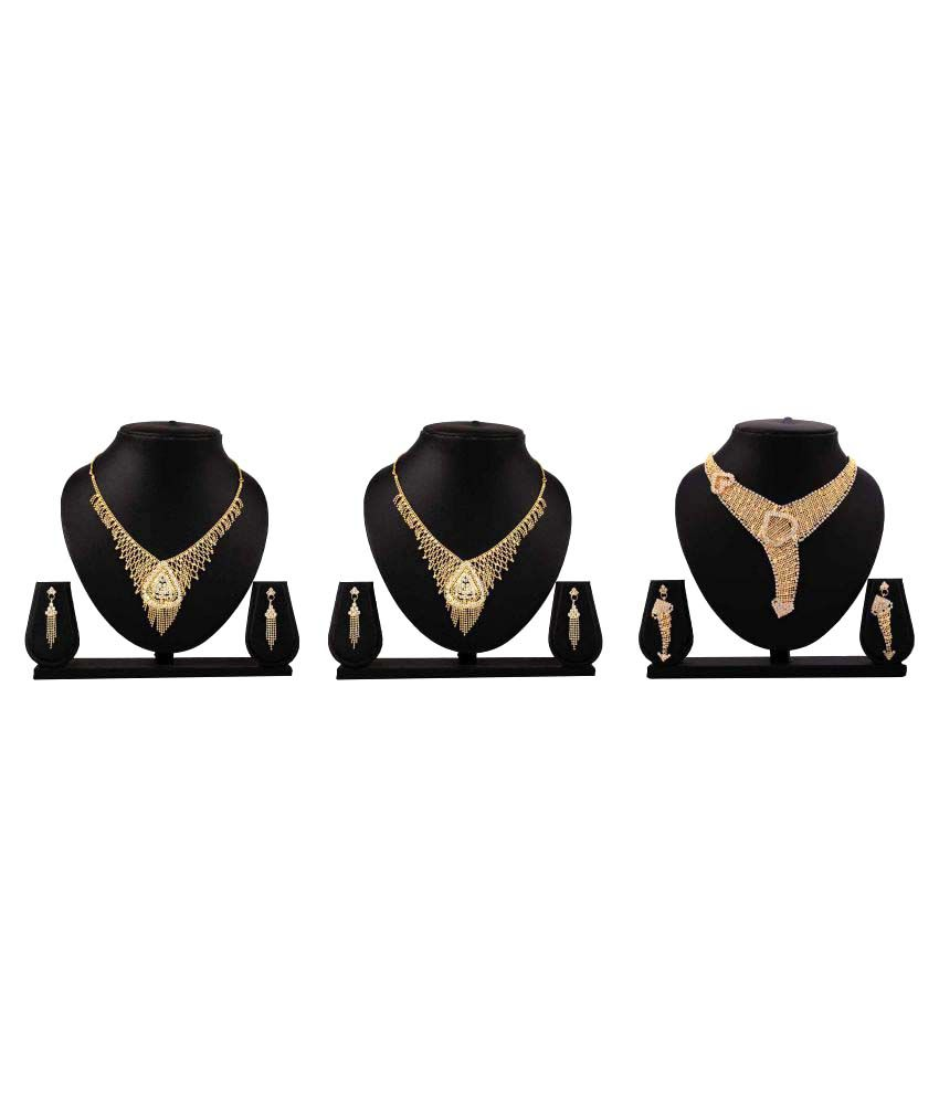 Bahucharaji Creation Presents Golden Alloy Set Combo of 3 Piece Necklace Set