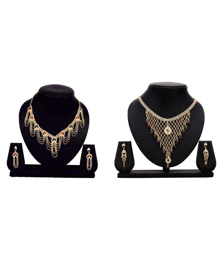 Bahucharaji Creation Presents Golden Alloy Combo Necklaces Set