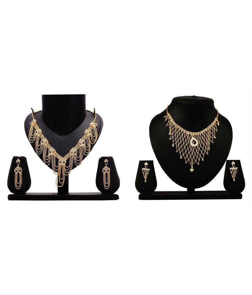 Bahucharaji Creation Presents Golden Alloy Necklace Set Combo
