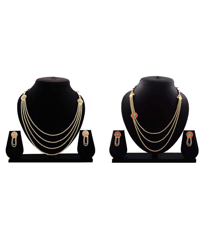 Bahucharaji Creation Golden Alloy Necklace Set - Pack of 2