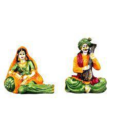 Kavya Home Decor Resin Rajasthani Marwadi  Couple Wall Sculpture Multi - Pack Of 2
