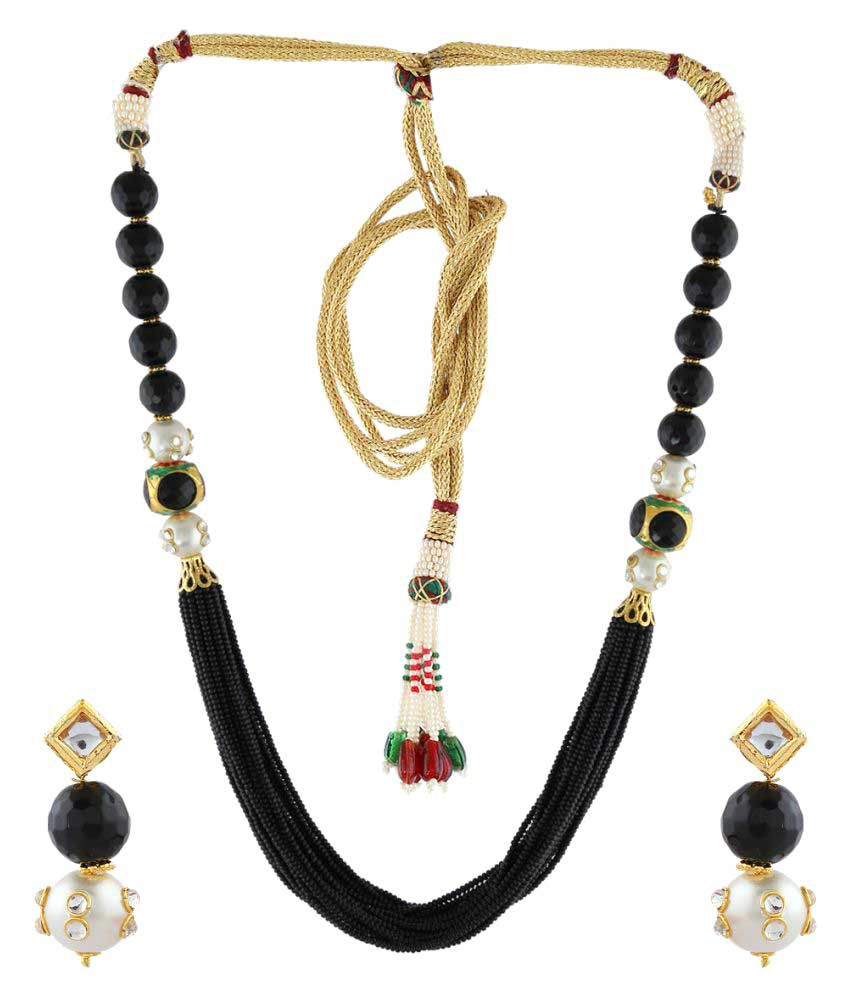 Anuradha Art Black Colour Styled With Beads Designer Traditional Necklace Set For Women/Girls