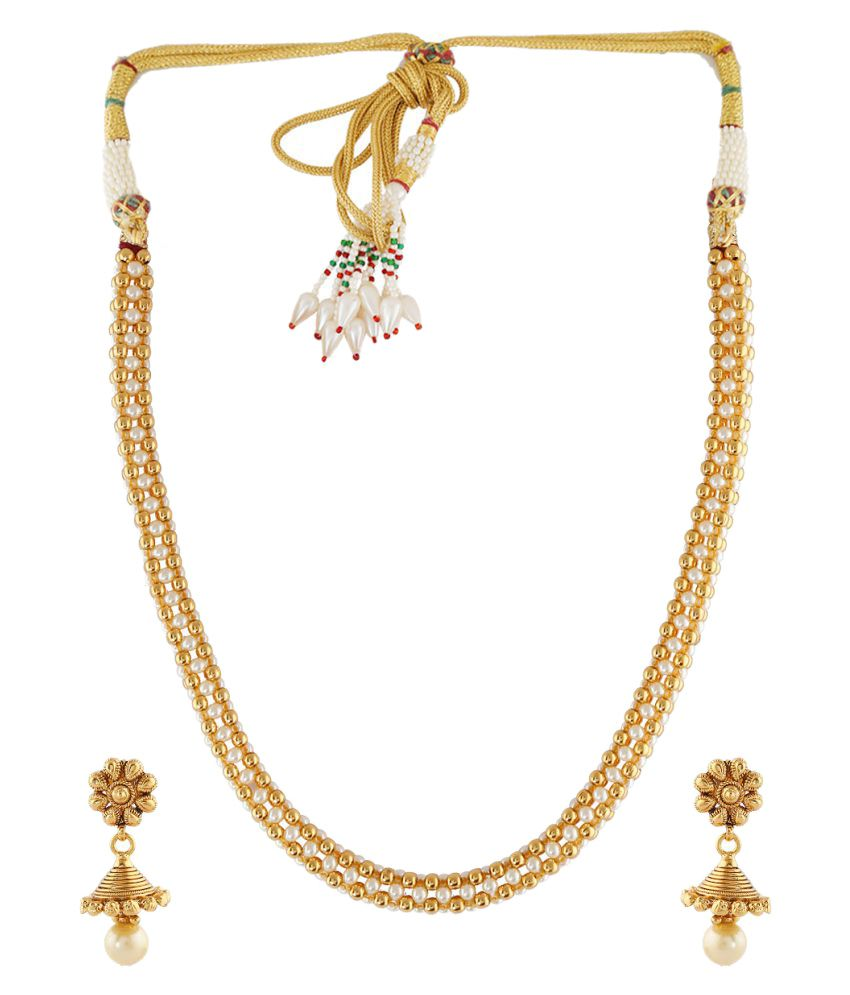 Anuradha Art Golden Finish Very Simple Designer Stylish Traditional Bridal Necklace Set For Women/Girls