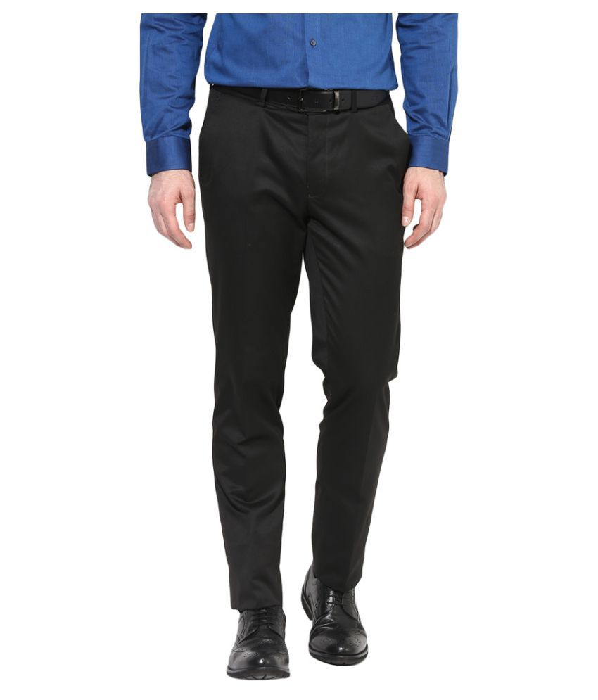 Turtle Black Slim -Fit Flat Trousers