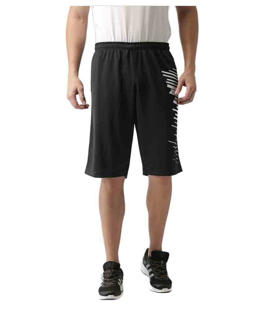 2GO Bold Black Printed Basket Ball Shorts
