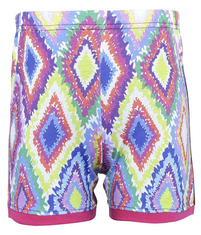 Punkster Regular Fit Multicolor Printed Cotton Basic Shorts For Girls