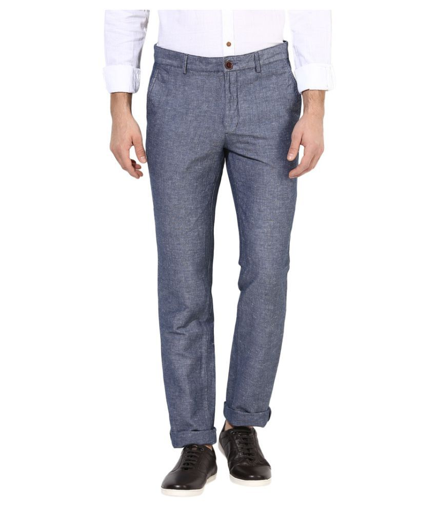 Turtle Grey Slim -Fit Flat Trousers